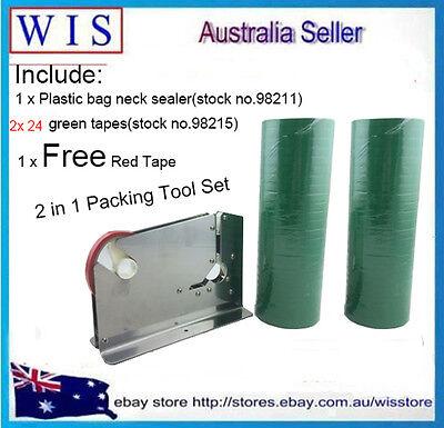 Veg Fruit Food Bag Neck Sealer Trimming Blade Sealing Dispenser with 48 x tapes Bag Neck Sealing Tape