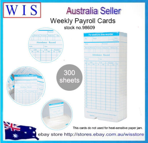 300 Sheets Monthly Payroll Cards for Thermal Attendance Payroll Recorder-98609