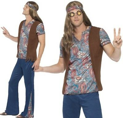 Mens 1960s 60s Hippy Fancy Dress Costume Men's 60's Hippie Outfit by Smiffys (Hippie Outfits For Men)
