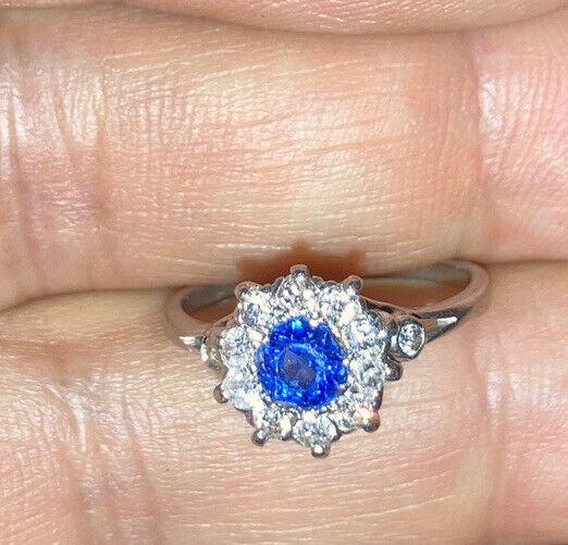Antique Victorian Platinum Sapphire Diamonds Flower Ring Size 5