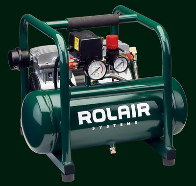 Rolair 1hp Oil-free Hand Carry Portable Electric Air Compressor Pajc-10 Oil-less