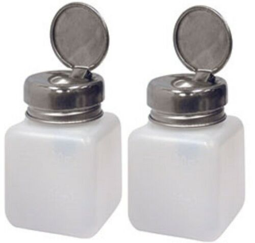 2 Pump Dispenser 4 oz Bottle For Liquid, Oil, Acetone, Polish Remover, Alcohol