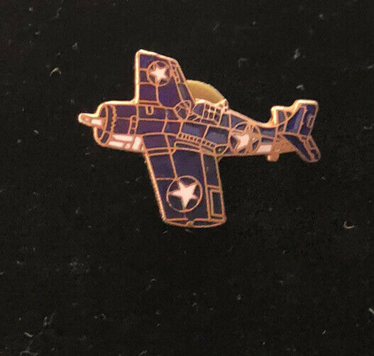 VINTAGE Blue Enamel AIRPLANE pin Bage Aircraft War Plane
