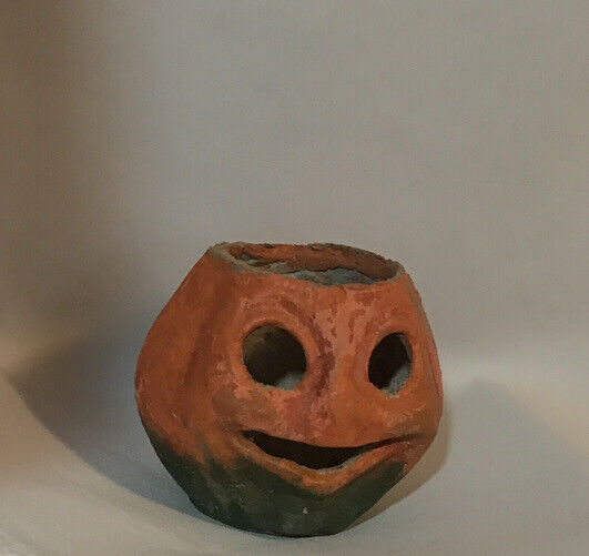 Halloween Jack-o-Lantern Paper Mache Antique Collectible Pumpkin Candy Vintage