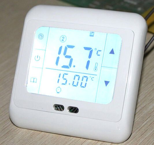 digitaler zimmer raumthermostat lcd touchscreen fu bodenheizung thermostat neu eur 16 90. Black Bedroom Furniture Sets. Home Design Ideas