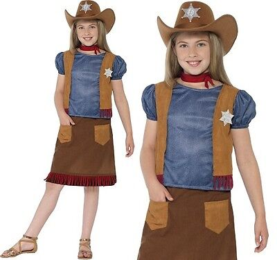Childrens Girls Cowgirl Western Belle Fancy Dress Costume Cow Girl Smiffys New