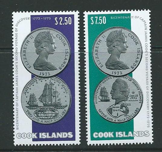COOK ISLANDS SG492/3 1974 CAPTAIN COOK''S SECOND VOYAGE MNH