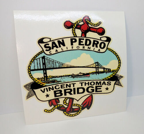 Vincent Thomas Bridge San Pedro CALIFORNIA Vintage Style DECAL / Vinyl STICKER