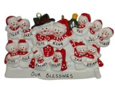 Personalized Snowman Family of 13 Christmas Ornament ](Snowman Ornament)