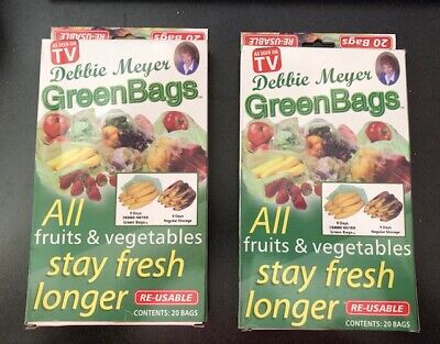 2 boxes of 20 Stay Fresh Green Bags Reusable Vegetable Fruit Produce