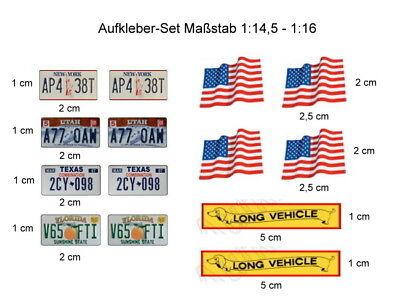 Modellbau-Aufkleber-Set für US-Trucks im Wedico- / Tamiya - Maßst. 1:14,5 - 1:16