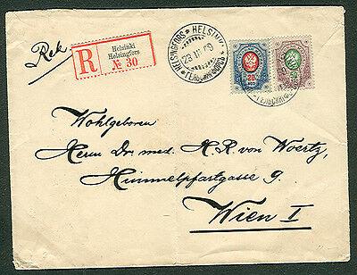 FINLAND 1909 20 kop + 50 kop Rings Issue reg to Austria Facit $2,000.00