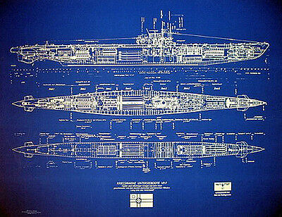 "UBOAT Kriegsmarine  WW2 Type VII-F  Blueprint Plans 24"" x 31""  (121)"