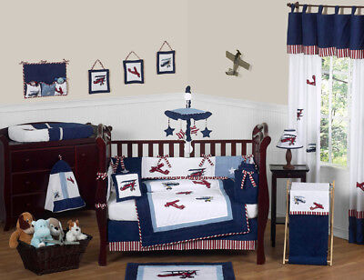 Sweet Jojo Designs 9-Piece Red, White and Blue Vintage Aviat