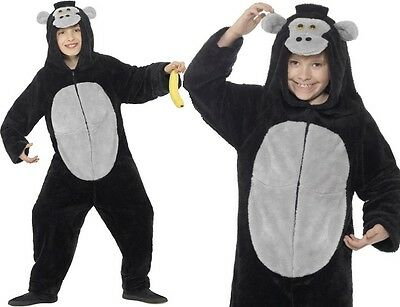 Kinder Kostüm Affe Gorilla Einteiler Kostüm Jungen Mädchen Anzug von Smiffys