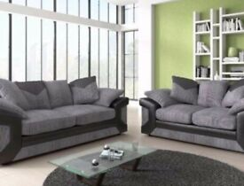 ✨Designer New Dino Jumbo Cord Fabric and Faux Leather Corner Sofa OR 3+2 Sofa Set 🇬🇧