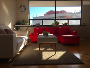 L Shaped sofa bed couch IKEA red