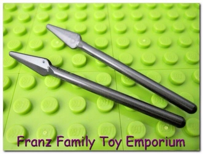 LEGO Lot of 2 Pearl Gray Minifig Pikes Spear Weapons