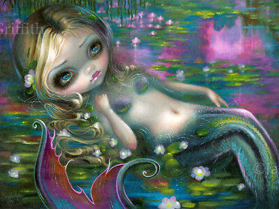 Jasmine Becket-Griffith art water lilies BIG print SIGNED Monet Mermaid