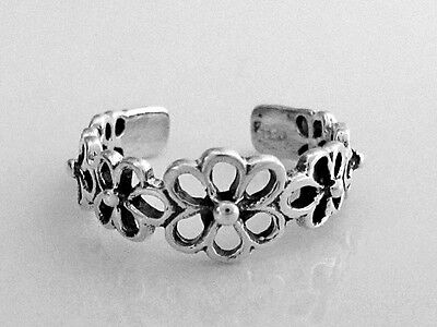 Sterling Silver 7 filigree flowers size small adjustable toe ring