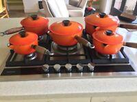 Set of 5 Le Creuset cast iron /enamel orange saucepans original 1980's set- size 14,16, 18, 20 & 22