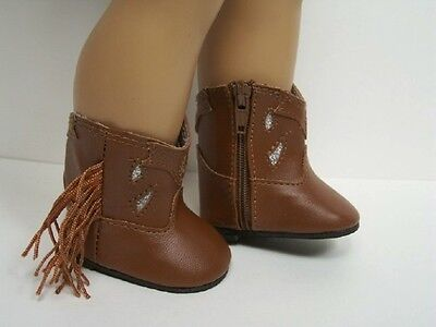 BROWN Cowboy Cowgirl Boots Doll Shoes For 18
