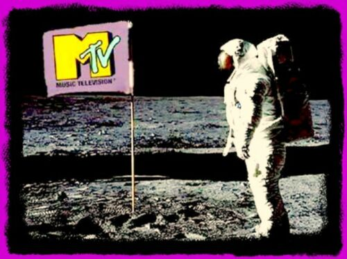 "4.5"" Classic MTV ""Moon Landing"" vinyl sticker. 1980"