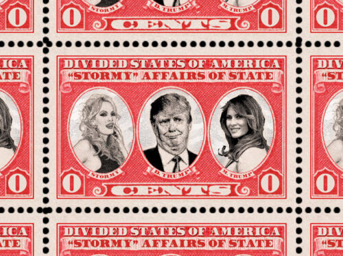 Trump - Stormy Affairs - Art Stamps (Artistamp, Faux Postage, REPRO)  RESIST!