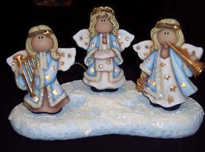 Ceramic bisque ready to paint angels on a snow base for Ceramic based paint
