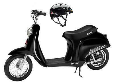 Razor Pocket Mod Vapor Electric Scooter (Black) & Youth Sport Helmet (Razor Sport Mod Electric Scooter)