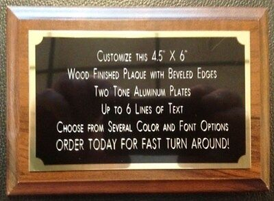 4.5x6 Recognition Award Plaque Trophy With 2 Tone Brass Engraved Plate