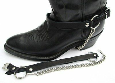 WESTERN BOOTS BOOT CHAINS BLACK TOPGRAIN COWHIDE LEATHER HARNESS STRAPS