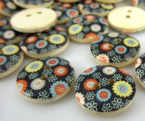 100Pcs Multicolor 2 Holes Wood Sewing Buttons Scrapbooking 15mm