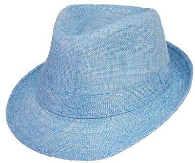 Fedora Trilby Hats For Kids - Sky Blue Color  - Gifts (FedHatK2*) (Blue Fedora Hats)