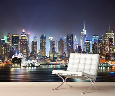 New York Night Skyline Wall Mural Photo Wallpaper Picture Self Adhesive 1047