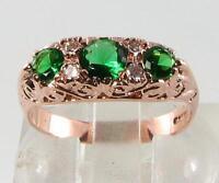 Large 9ct 9k Rose Gold Victorian Insp Garnet Tsavorite Diamond Ring Free Resize -  - ebay.co.uk