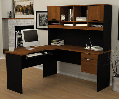 Laminate L Shape Desk In Tuscany Brown Black Finish With Hutch
