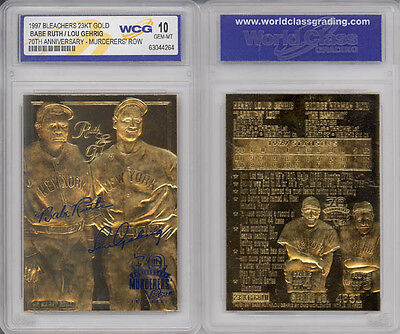 Yankees Murderers Row   Babe Ruth   Lou Gehrig   23Kt Gold Card   Gem Mint 10