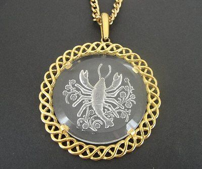 Vintage Large AVON Glass Scorpio Scorpian Zodiac Gold Plate Pendant NECKLACE