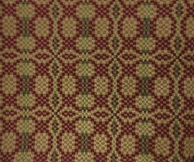 WOVEN TABLE RUNNER Patriot Knot Cranberry Green Tan 32
