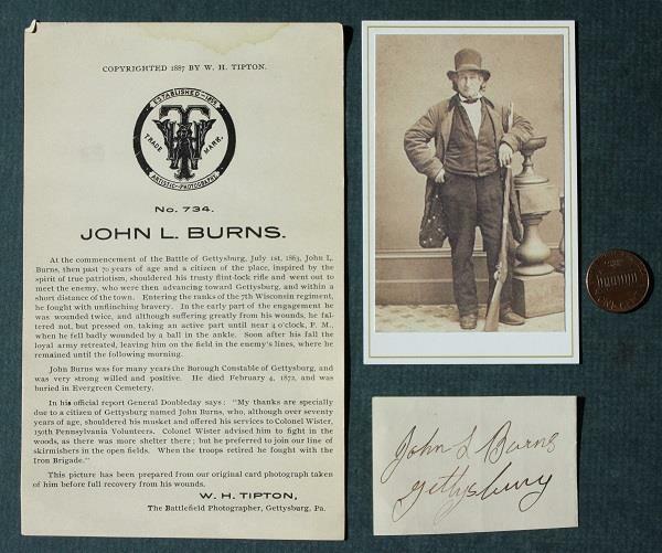 Civil War Hero of Gettysburg John L. Burns AUTOGRAPHED THREE piece set-UNCOMMON!