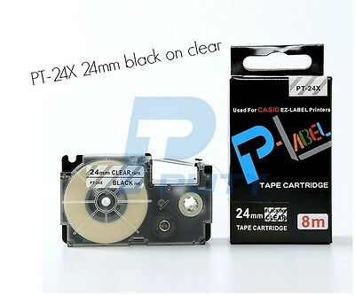 Xr-24x Compatible Casio Black On Clear 24mm 8m Label Tape 1 X 26 Xr-24x1