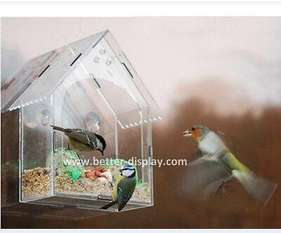Large Bird Feeder Window Viewing Box Clear Hanging Bird House Garden Decoration