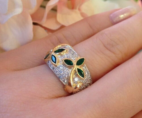 1.40 Ct Emerald And Diamond Pave Ring In Platinum/18k Yellow Gold - Hm1201ss