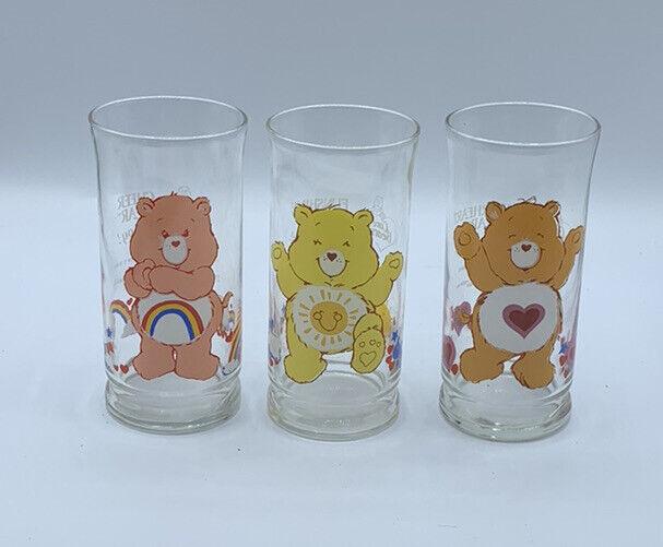 (3) Care Bears Pizza Hut Drinking Glasses 1983 Cheer Funshine Tenderheart Bear