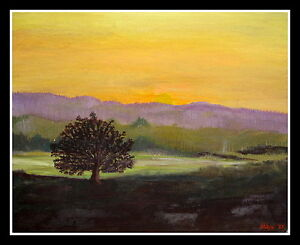 OOAK ONE OF A KIND OIL PAINTING LANDSCAPE LONE TREE UNFRAMED
