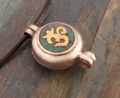 Great Tibetan Wooden Amulet Gau from Nepal Turquoise Om + Endless Knot for Love