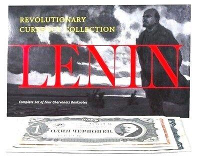 Lenin: Complete Set of 4 Soviet Banknotes Folio -1, 3, 5 and 10 Chervonets,1937