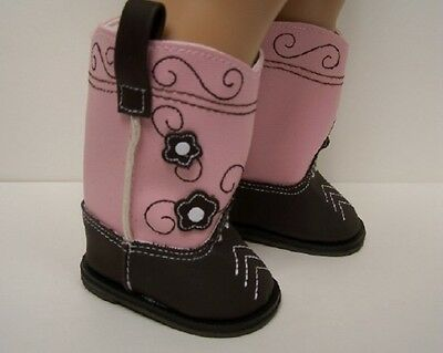 BROWN & PINK Cowboy Cowgirl Boots Doll Shoes For 18