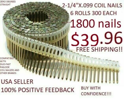 """Coil Nails 2-1/4"""" x .099 Electro Galvanized Smooth Shank 0 Degree Plastic 1800pc"""